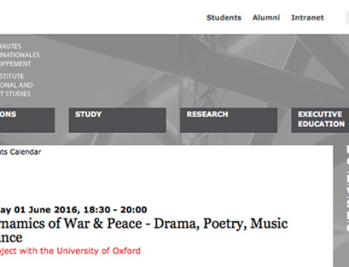 The Dynamics of War & Peace – Drama, Poetry, Music and Dance